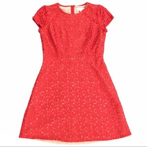 Loft Coral Lace Overlay Dress Size 4